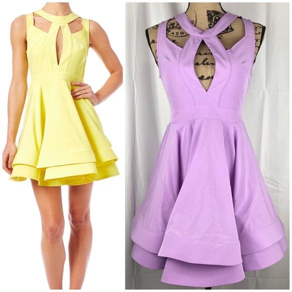 Luxxel Dresses & Skirts - Luxxel Cutout Flare Dress Lavender Dress Size S